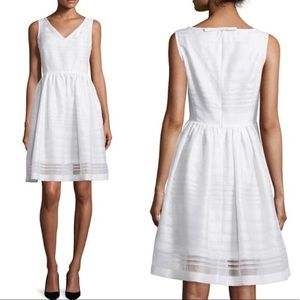 Kate Spade White Ribbon Organza V-Neck Dress NWT
